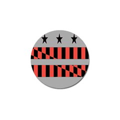 Falg Sign Star Line Black Red Golf Ball Marker by Alisyart
