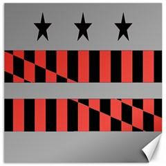 Falg Sign Star Line Black Red Canvas 12  X 12   by Alisyart