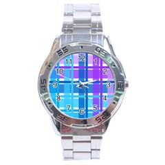 Gingham Pattern Blue Purple Shades Sheath Stainless Steel Analogue Watch by Alisyart