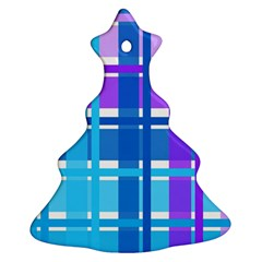 Gingham Pattern Blue Purple Shades Sheath Ornament (christmas Tree)  by Alisyart