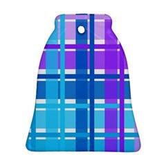 Gingham Pattern Blue Purple Shades Sheath Ornament (bell) by Alisyart