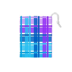 Gingham Pattern Blue Purple Shades Sheath Drawstring Pouches (small)  by Alisyart