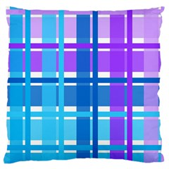Gingham Pattern Blue Purple Shades Sheath Large Flano Cushion Case (two Sides) by Alisyart
