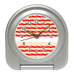 Chevron Wave Triangle Red White Circle Blue Travel Alarm Clocks by Alisyart