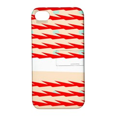 Chevron Wave Triangle Red White Circle Blue Apple Iphone 4/4s Hardshell Case With Stand by Alisyart