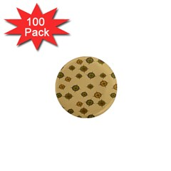 Compass Circle Brown 1  Mini Magnets (100 Pack)  by Alisyart