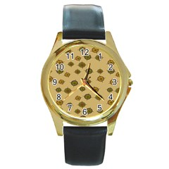 Compass Circle Brown Round Gold Metal Watch by Alisyart