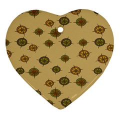 Compass Circle Brown Heart Ornament (two Sides) by Alisyart