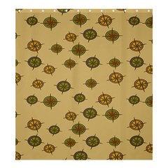 Compass Circle Brown Shower Curtain 66  X 72  (large)  by Alisyart