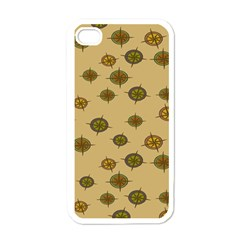 Compass Circle Brown Apple Iphone 4 Case (white) by Alisyart