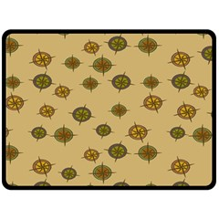 Compass Circle Brown Double Sided Fleece Blanket (large)  by Alisyart