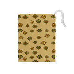 Compass Circle Brown Drawstring Pouches (medium)  by Alisyart