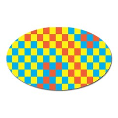 Optical Illusions Plaid Line Yellow Blue Red Flag Oval Magnet by Alisyart