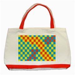 Optical Illusions Plaid Line Yellow Blue Red Flag Classic Tote Bag (red) by Alisyart