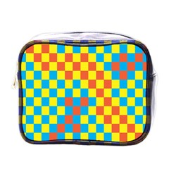 Optical Illusions Plaid Line Yellow Blue Red Flag Mini Toiletries Bags by Alisyart