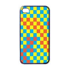 Optical Illusions Plaid Line Yellow Blue Red Flag Apple Iphone 4 Case (black) by Alisyart