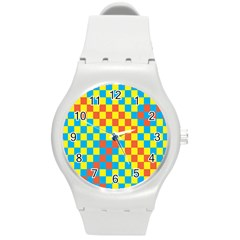 Optical Illusions Plaid Line Yellow Blue Red Flag Round Plastic Sport Watch (m) by Alisyart