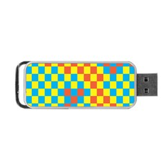 Optical Illusions Plaid Line Yellow Blue Red Flag Portable Usb Flash (two Sides) by Alisyart