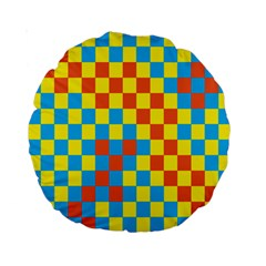 Optical Illusions Plaid Line Yellow Blue Red Flag Standard 15  Premium Round Cushions by Alisyart