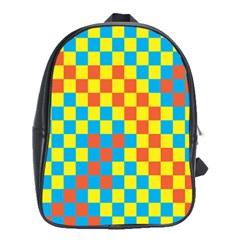 Optical Illusions Plaid Line Yellow Blue Red Flag School Bags (xl)  by Alisyart
