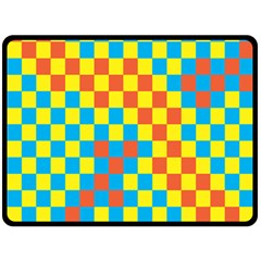 Optical Illusions Plaid Line Yellow Blue Red Flag Double Sided Fleece Blanket (large)  by Alisyart