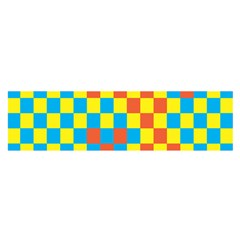 Optical Illusions Plaid Line Yellow Blue Red Flag Satin Scarf (oblong) by Alisyart