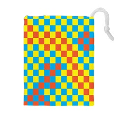Optical Illusions Plaid Line Yellow Blue Red Flag Drawstring Pouches (extra Large) by Alisyart