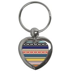 Original Code Rainbow Color Chevron Wave Line Key Chains (heart)  by Alisyart
