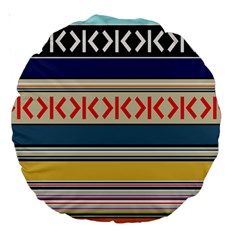 Original Code Rainbow Color Chevron Wave Line Large 18  Premium Round Cushions by Alisyart