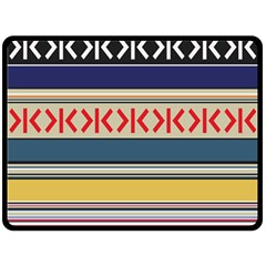 Original Code Rainbow Color Chevron Wave Line Double Sided Fleece Blanket (large)  by Alisyart