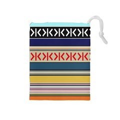 Original Code Rainbow Color Chevron Wave Line Drawstring Pouches (medium)  by Alisyart
