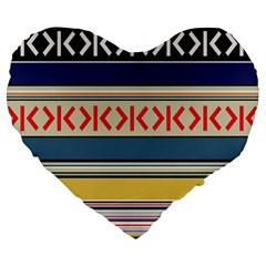Original Code Rainbow Color Chevron Wave Line Large 19  Premium Flano Heart Shape Cushions by Alisyart