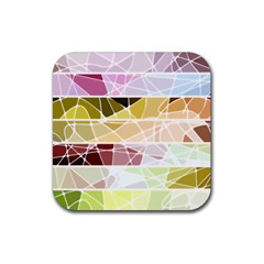Geometric Mosaic Line Rainbow Rubber Coaster (square)  by Alisyart