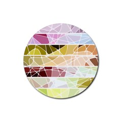 Geometric Mosaic Line Rainbow Rubber Round Coaster (4 Pack)  by Alisyart