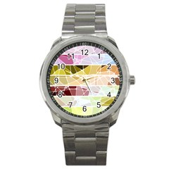 Geometric Mosaic Line Rainbow Sport Metal Watch by Alisyart