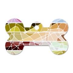 Geometric Mosaic Line Rainbow Dog Tag Bone (two Sides) by Alisyart