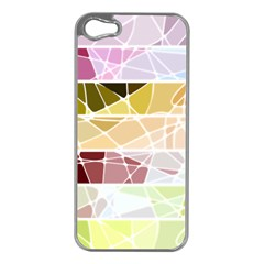 Geometric Mosaic Line Rainbow Apple Iphone 5 Case (silver) by Alisyart
