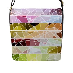 Geometric Mosaic Line Rainbow Flap Messenger Bag (l)  by Alisyart