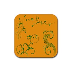 Nature Leaf Green Orange Rubber Coaster (square)  by Alisyart