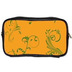 Nature Leaf Green Orange Toiletries Bags by Alisyart