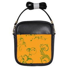 Nature Leaf Green Orange Girls Sling Bags by Alisyart