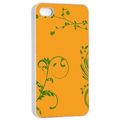 Nature Leaf Green Orange Apple Iphone 4/4s Seamless Case (white) by Alisyart