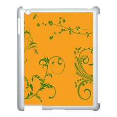 Nature Leaf Green Orange Apple Ipad 3/4 Case (white) by Alisyart