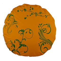 Nature Leaf Green Orange Large 18  Premium Flano Round Cushions by Alisyart