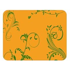 Nature Leaf Green Orange Double Sided Flano Blanket (large)