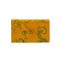 Nature Leaf Green Orange Cosmetic Bag (xs) by Alisyart