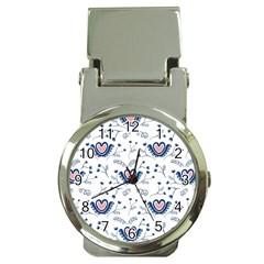 Heart Love Valentine Flower Floral Purple Money Clip Watches by Alisyart