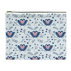 Heart Love Valentine Flower Floral Purple Cosmetic Bag (xl) by Alisyart