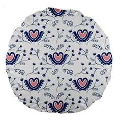 Heart Love Valentine Flower Floral Purple Large 18  Premium Round Cushions by Alisyart