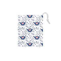 Heart Love Valentine Flower Floral Purple Drawstring Pouches (xs)  by Alisyart